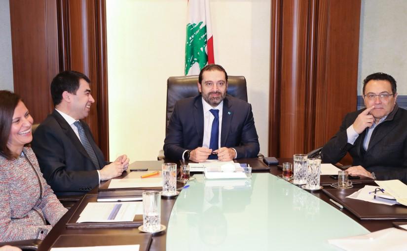 Pr Minister Saad Hariri meets Minister Cesar abi Khalil with a Delegation