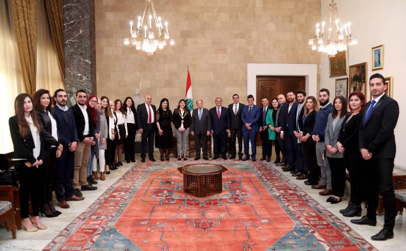 President Michel Aoun meets Minister Pierre Raffoul with a delegation (JCI).