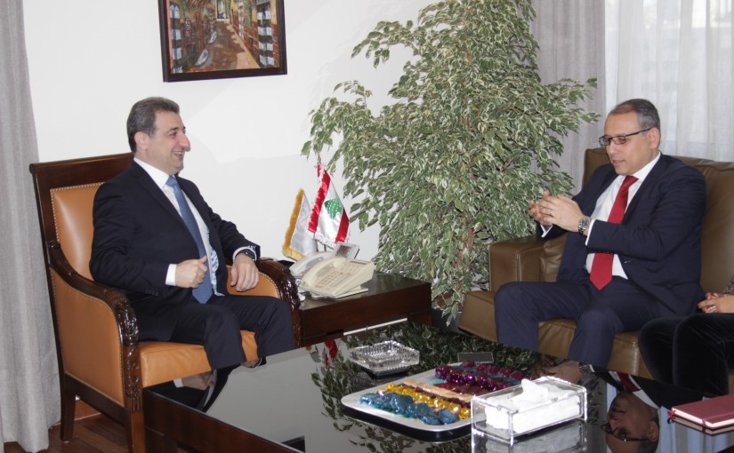 Minister Wael abou Faour meets Egyptian Ambassador
