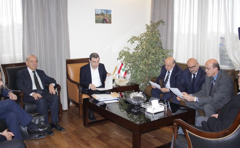 Minister wael abou Faour meets MP Simon Abi Ramia with a Delegation