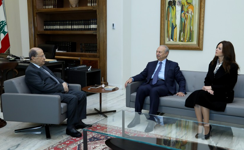 President Michel Aoun meets Former Minister Mouhamad  Safadi and Minister Violet Safadi.