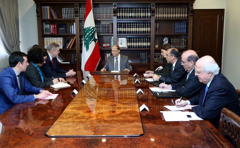 President Michel Aoun  meets Mr. Jan Kubis with a delegation.