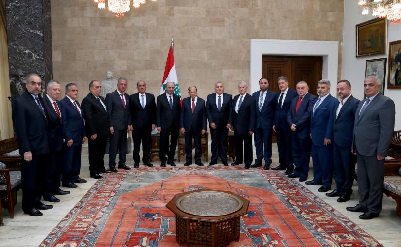 President Michel Aoun meets Sheikh Nasib Al Gemayel with a delegation.