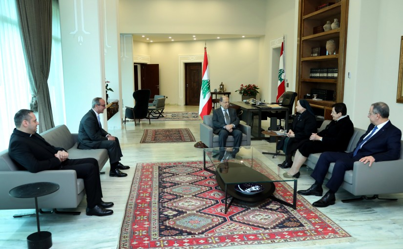 President Michel Aoun meets Georges Aoun with a delegation.