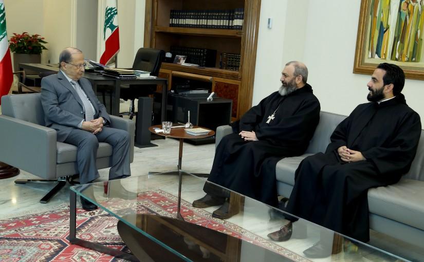 President Michel Aoun meets Father Neamat Allah Al Hashem.