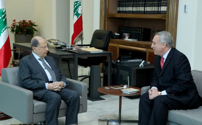President Michel Aoun meets Jordanian Ambassador Nabil Masawra.