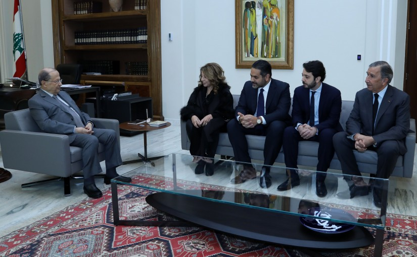 President Michel Aoun meets Late Family Former Minister and MP Robert Ghanem.