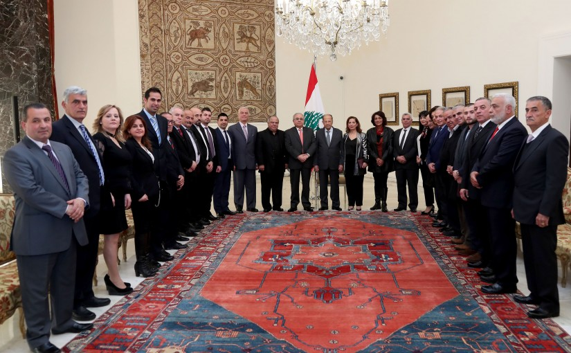 President Michel Aoun meets   MP Mario Aoun with a delegation.