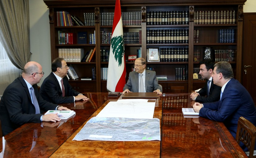 President Michel Aoun meets Minister Mansour Bteish and Lawyer Michel Salame.