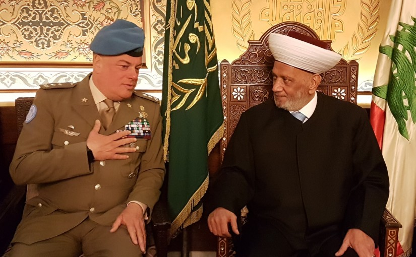 Grand Mufti Abdel Latif Derian Meets Major General Stephano Del Col
