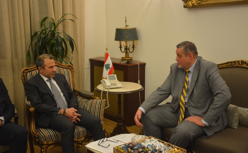 Minister Gebran Bassil meets Mr Pierre Crinobel