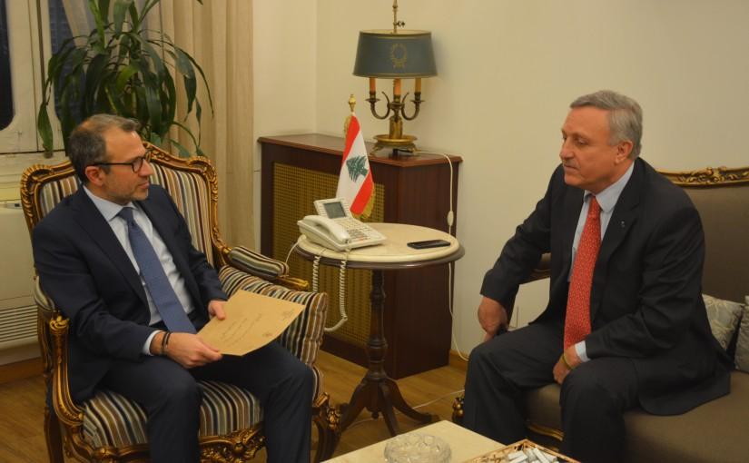 Minister Gebran Bassil meets Armenian Ambassador