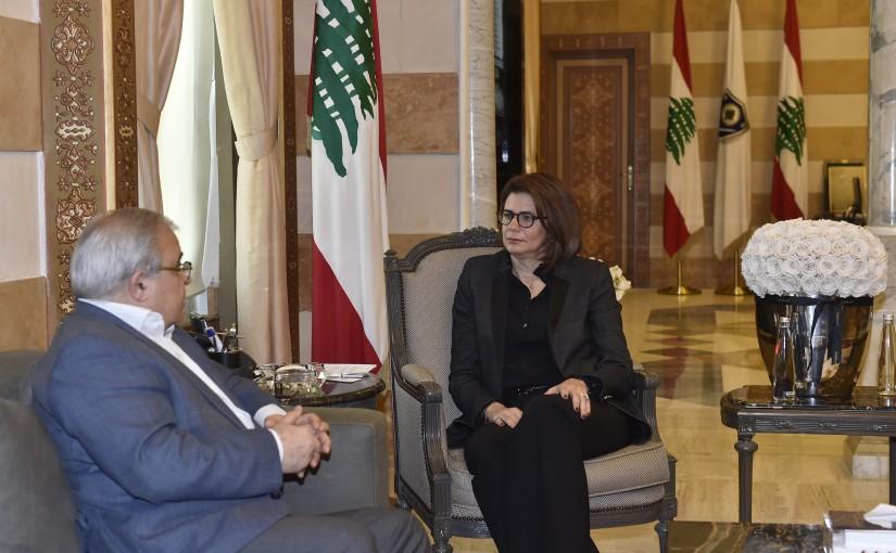 Minister Raya el hassan meets MP Mario Aoun