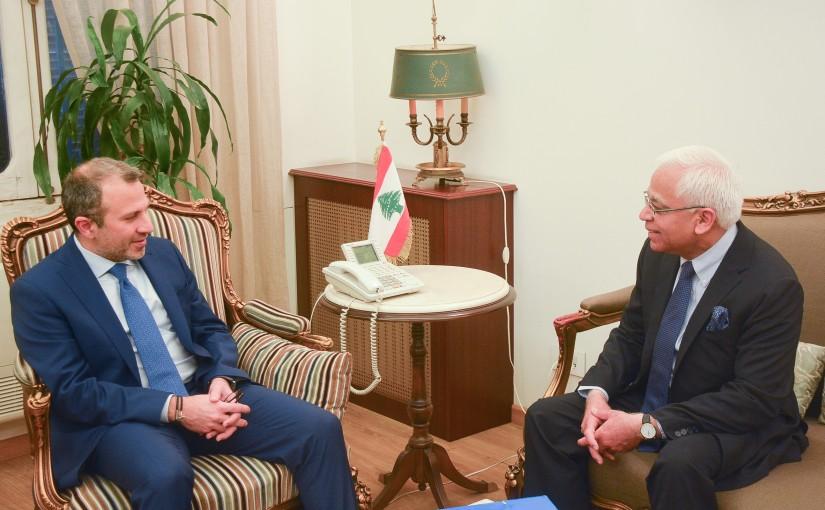 Minister Gebran Bassil meets Indian Ambassador