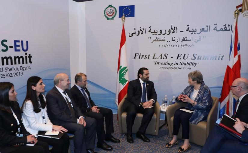 Pr Minister Saad Hariri meets British Pr Minister Theresa May