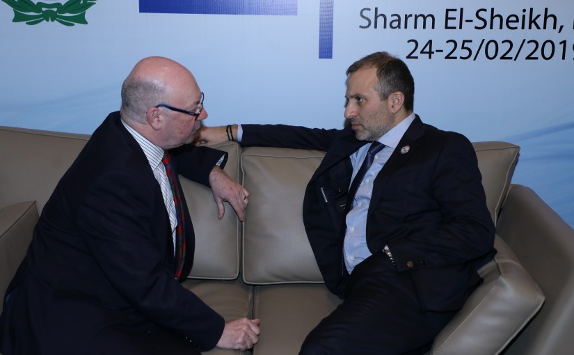 Minister Gebran Bassil meets British Minister of State Alster Bern