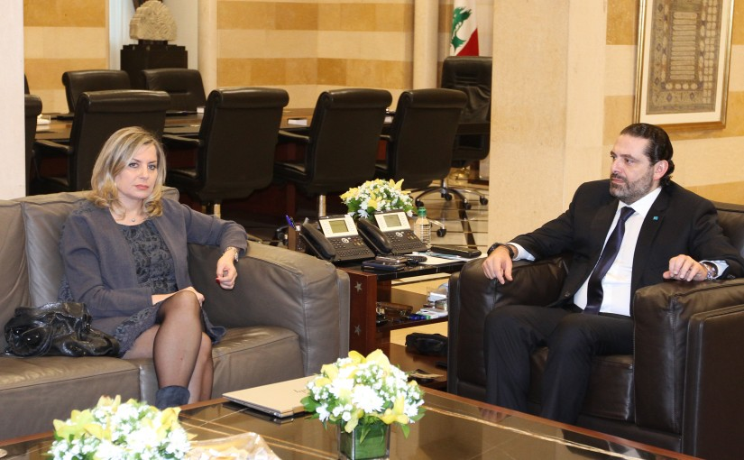 Pr Minister Saad Hariri meets Mrs Claudine Aoun with a Delegation