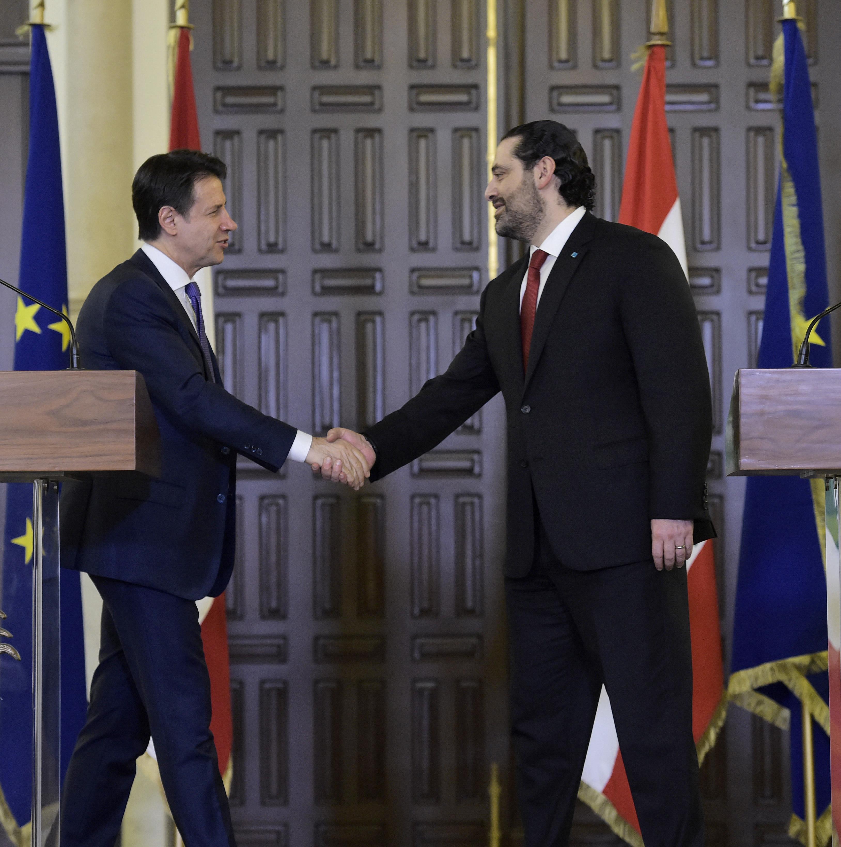 Pr Minister Saad Hariri Receiving Italian Pr Minister 1