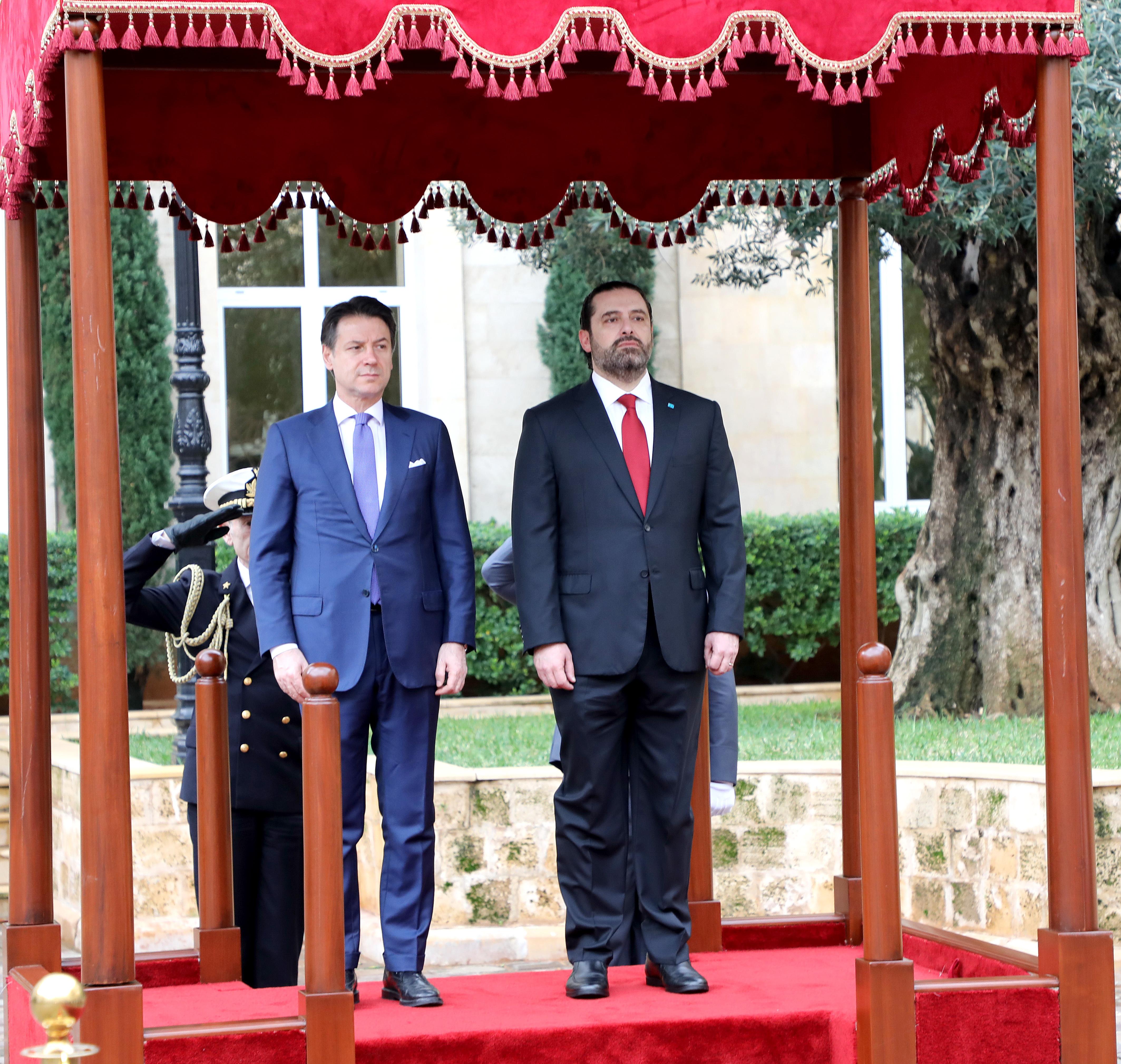 Pr Minister Saad Hariri Receiving Italian Pr Minister 2
