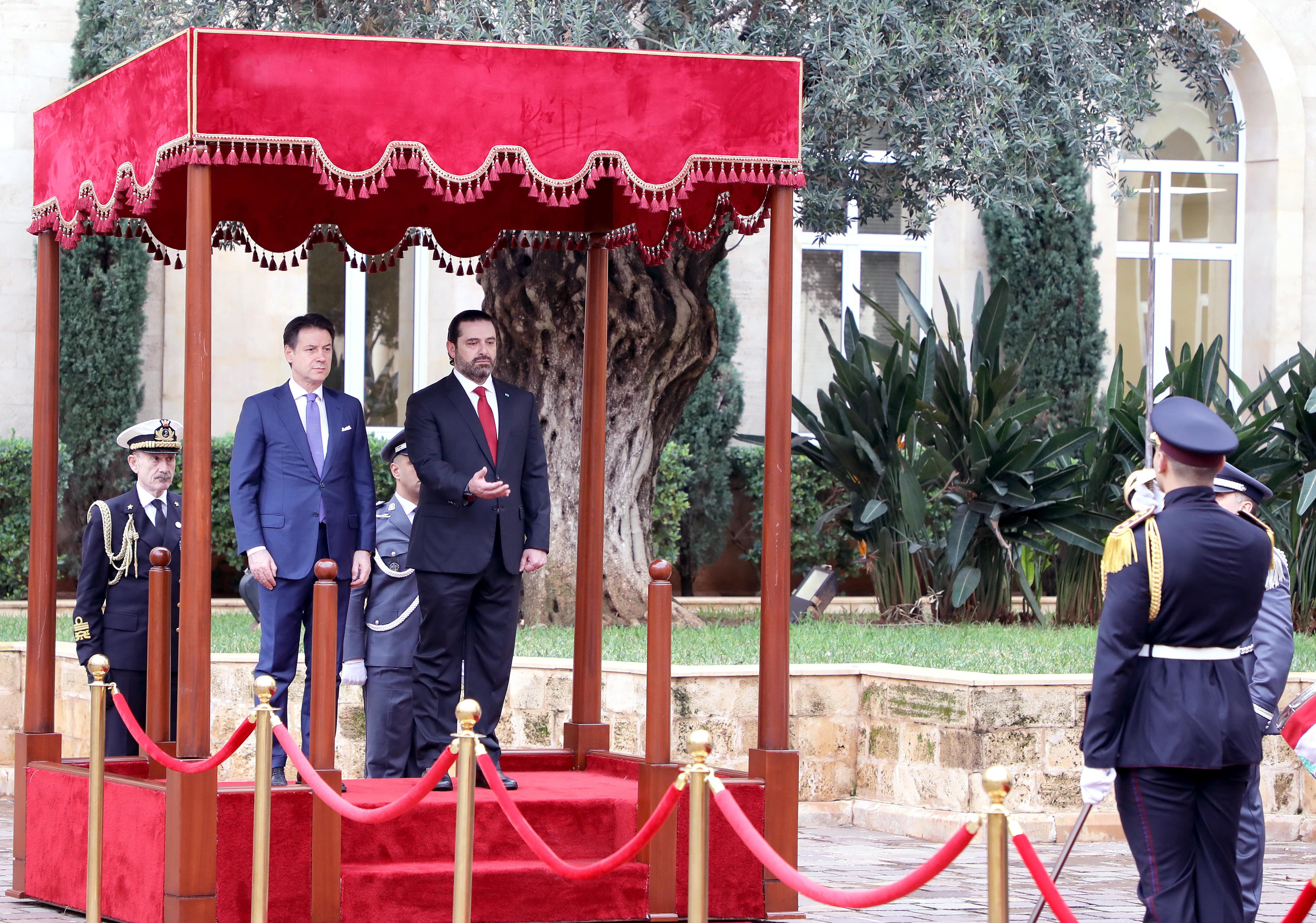 Pr Minister Saad Hariri Receiving Italian Pr Minister 3