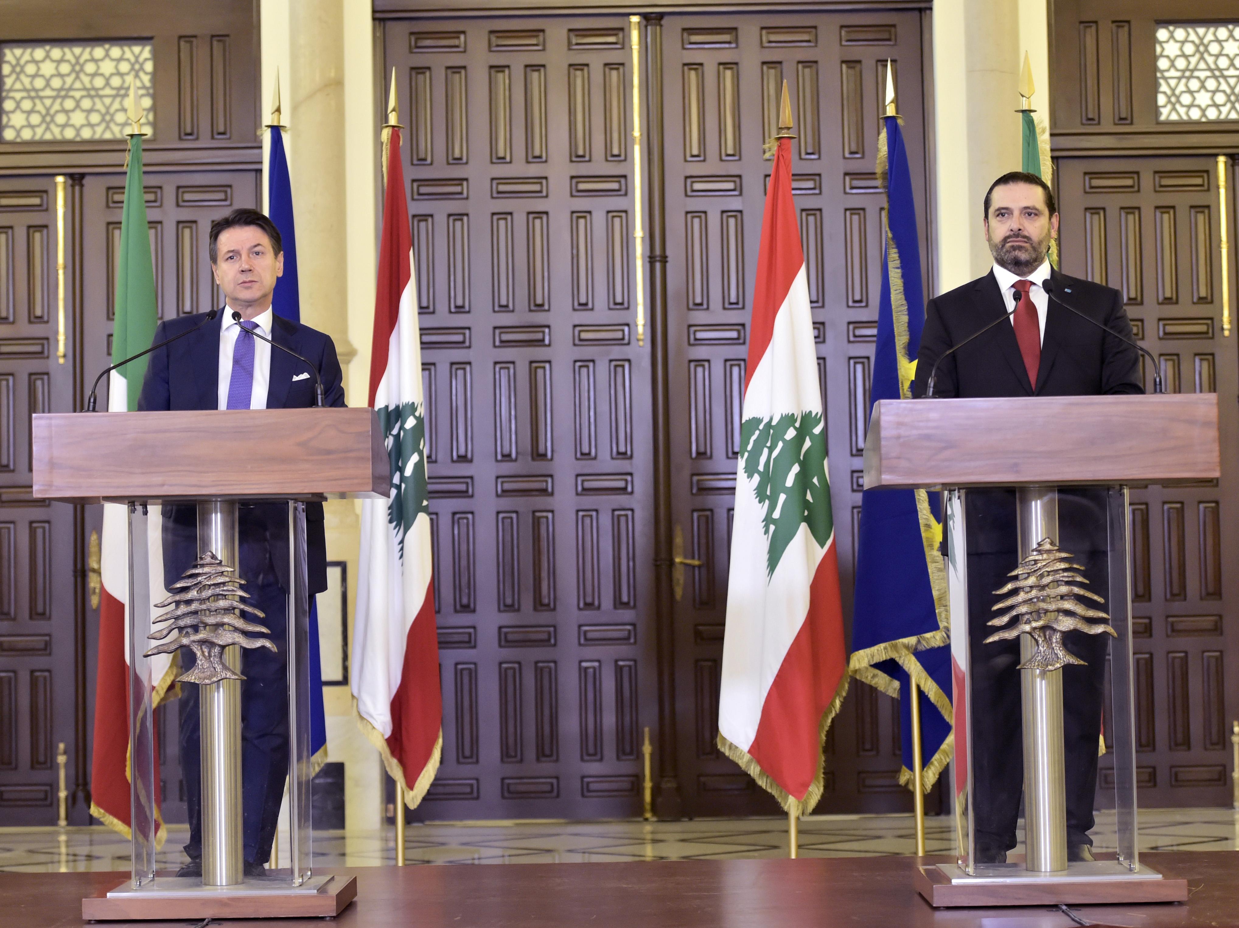 Pr Minister Saad Hariri Receiving Italian Pr Minister 4