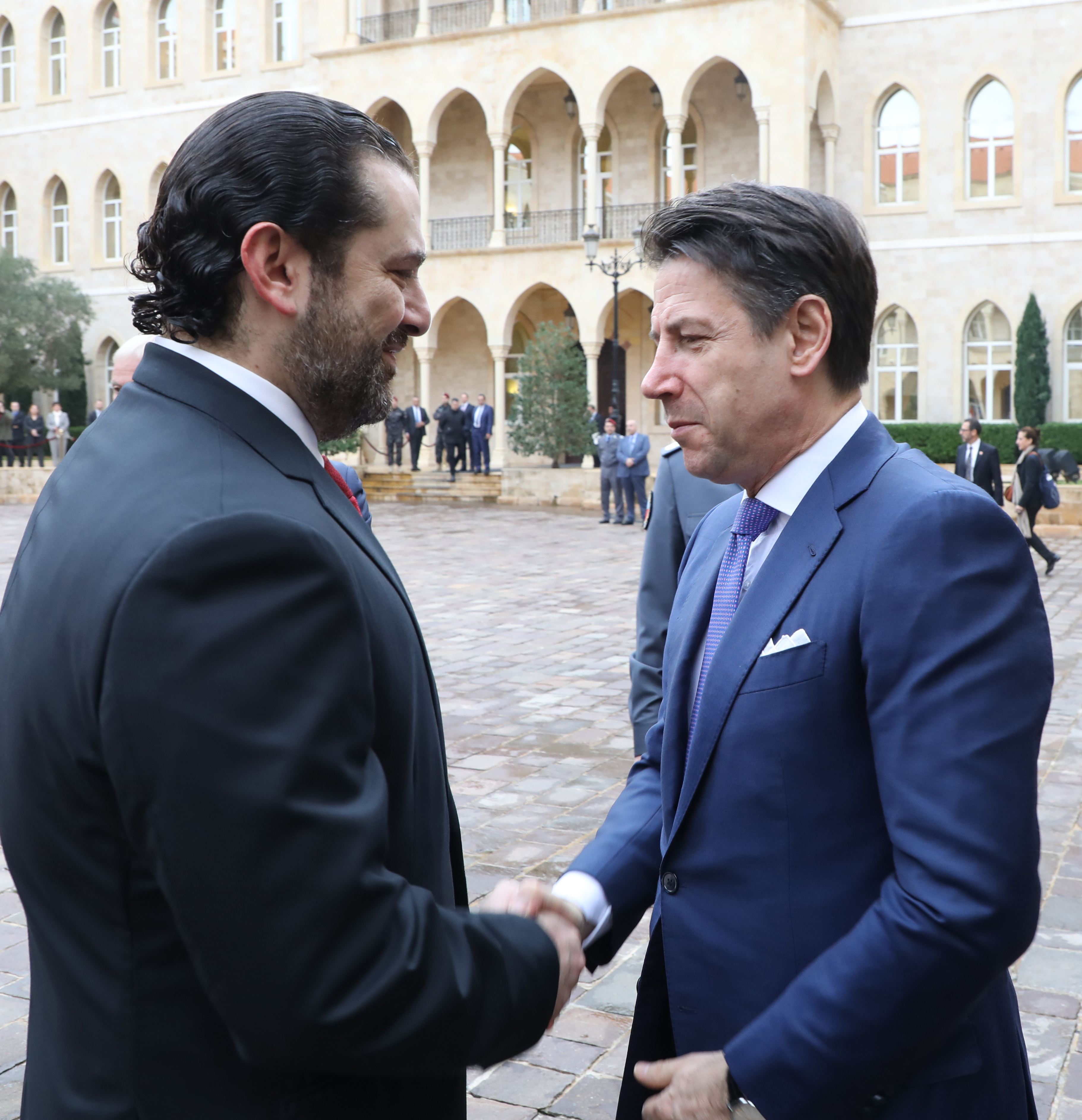 Pr Minister Saad Hariri Receiving Italian Pr Minister