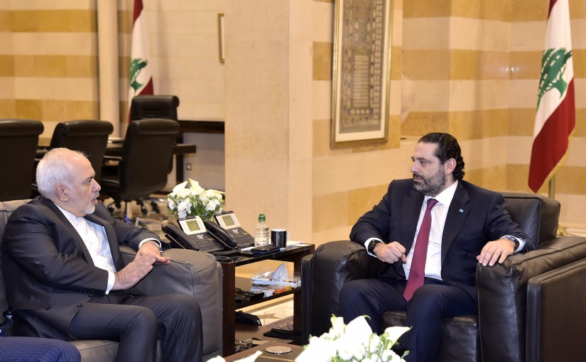 Pr Minister Saad Hariri meets Minister Dr. Mouhamad Jawad Zarif with a delegation.