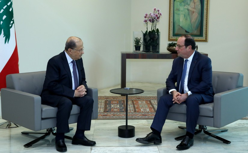 President Michel Aoun meets Former French President Francois Hollande.