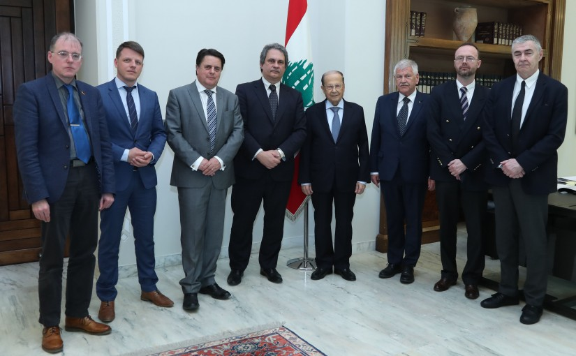 President Michel Aoun meets Mr. Roberto Fiore with a delegation.