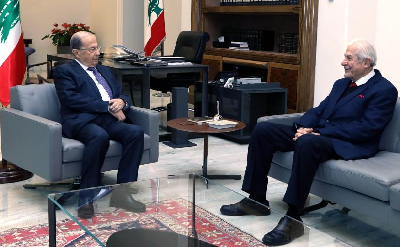President Michel Aoun meets Mr. Riyad Tabet.