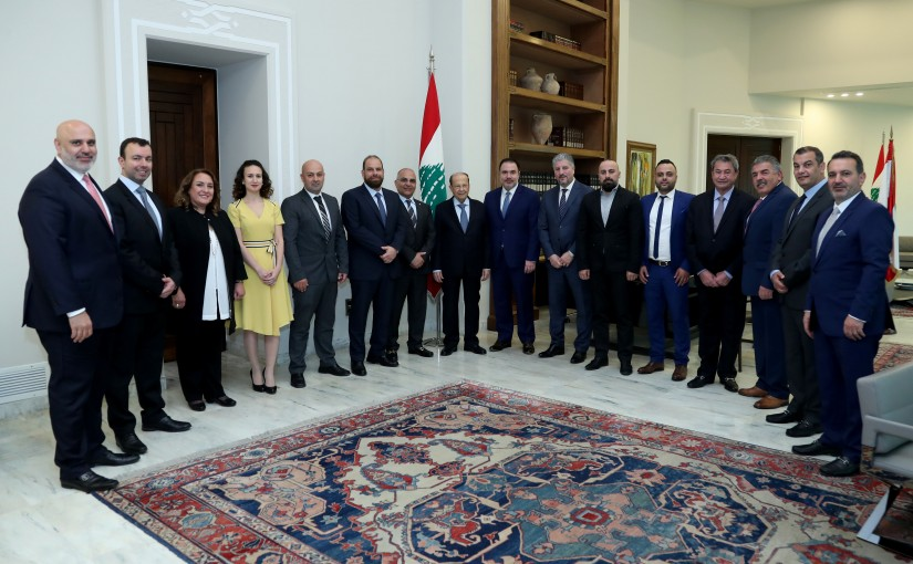 President Michel Aoun meets Mr. Elie Azar with a delegation.
