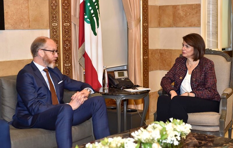 Minister Raya El Hassan Meets Sweden Ambassador