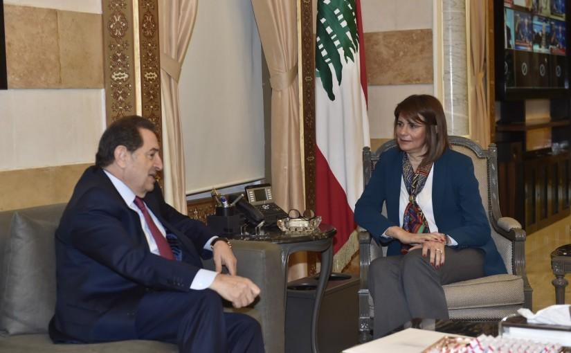 Minister Raya El Hassan Meets Former MP Boutros Harb