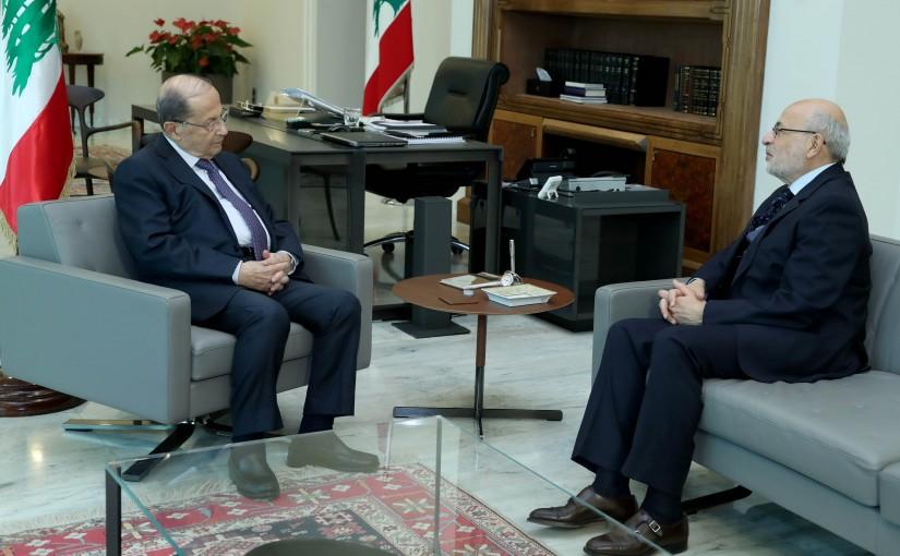 President Michel Aoun meets Minister Akram Shehayeb.
