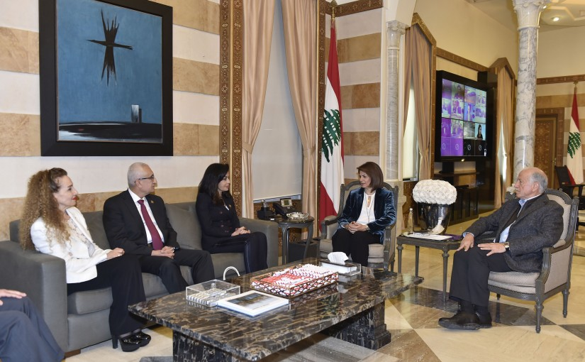 Minister Raya El Hassan Meets a Delegation From Beirut Marathon