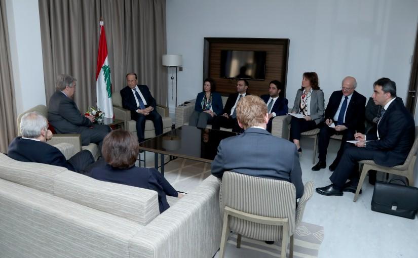 President Michel Aoun meets UN Secretary-General António Guterres (Tunis).