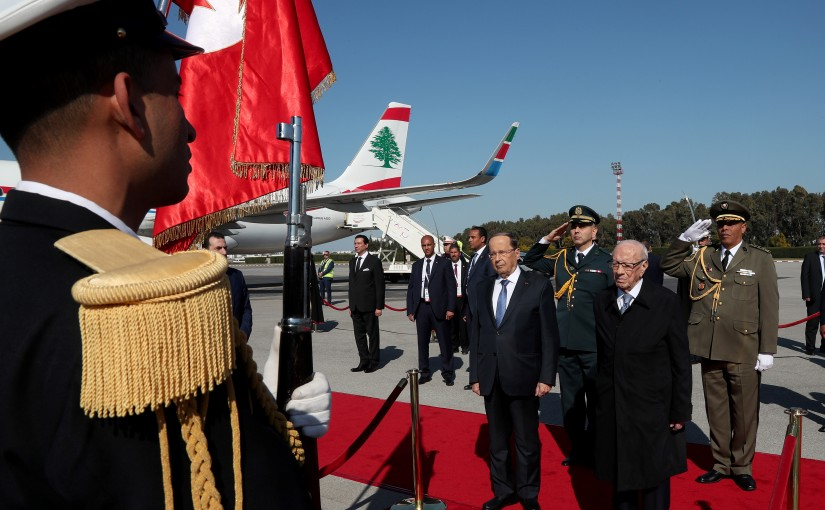 The Arrival of President Michel Aoun to Tunis .