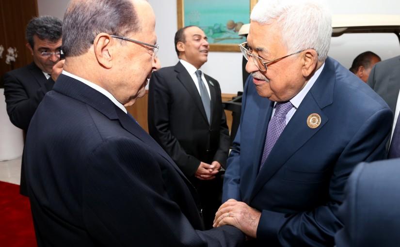 President Michel Aoun meets Mahmoud Abbas President of the Palestinian.