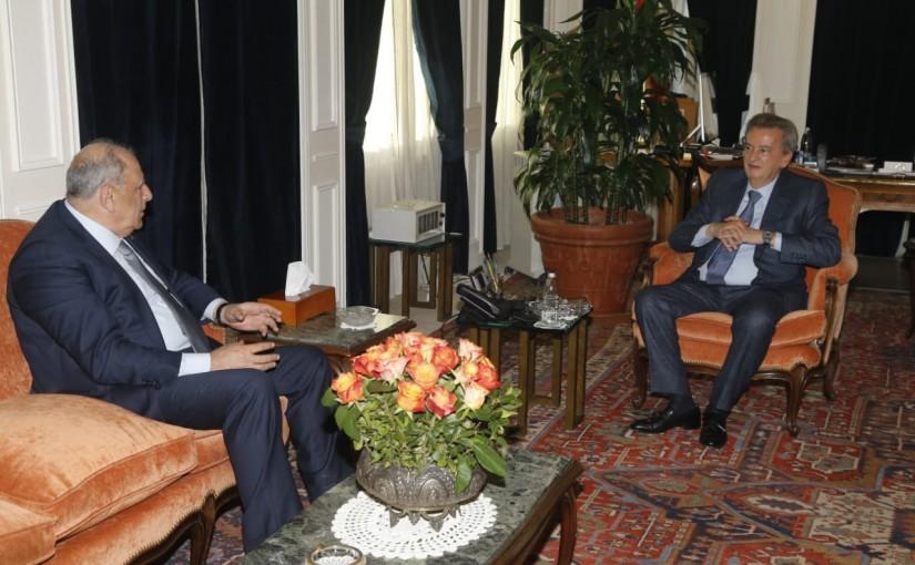 Minister Jamal Jarrah meets Mr Riyadh Salameh