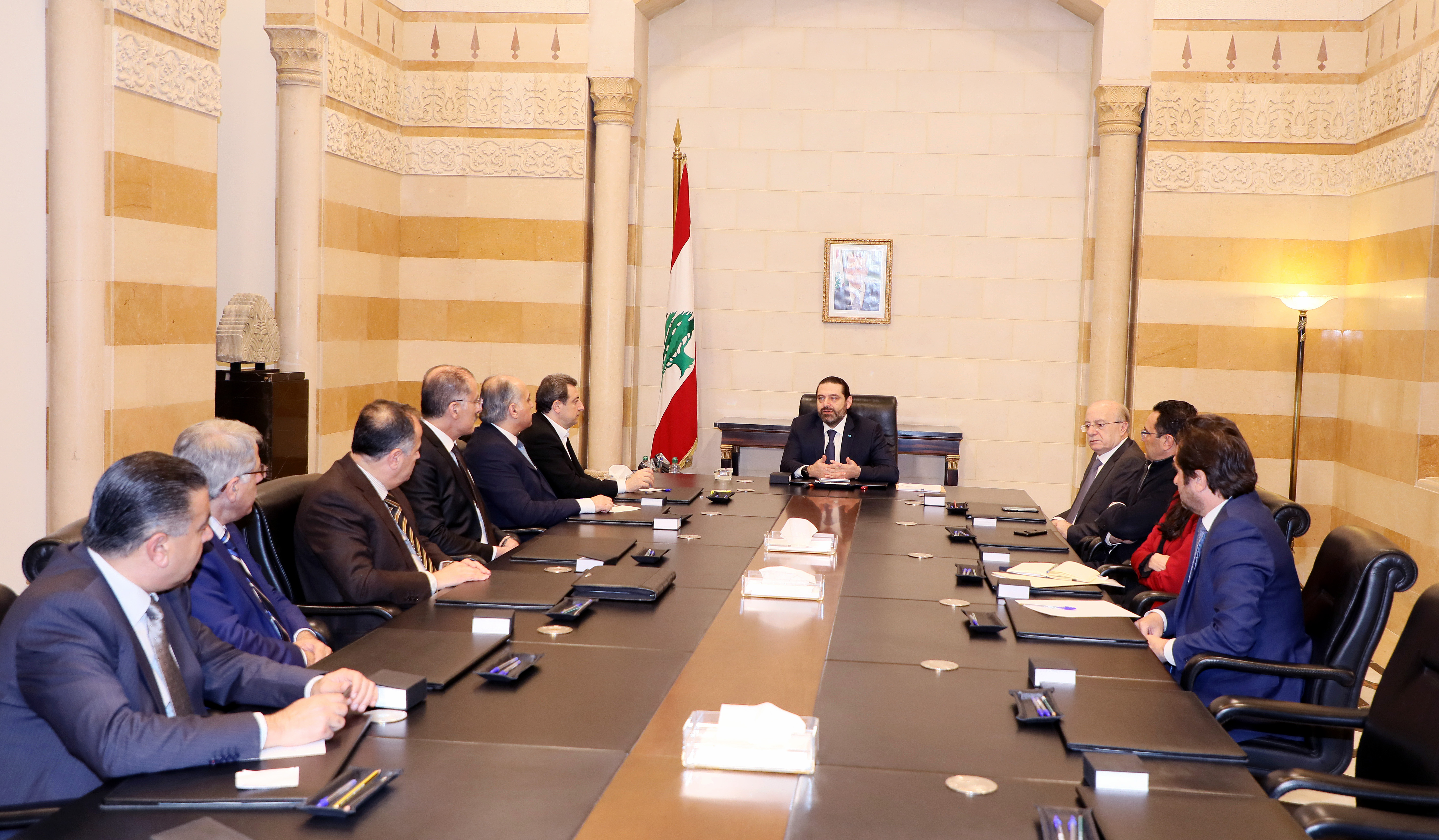 Pr Minister Saad Hariri meets Minister Wael Abou Faour with a Delegation