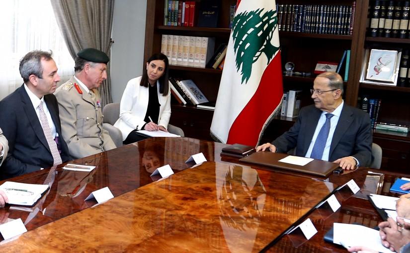 President Michel Aoun meets Gen. Sir Nicholas Carter with a delegation.
