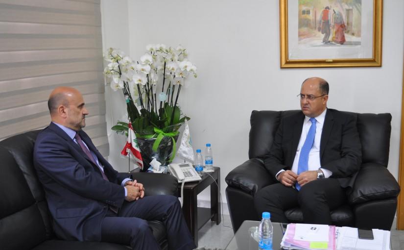 Minister Hassan Lakis Meets MP Simon Abi Ramia
