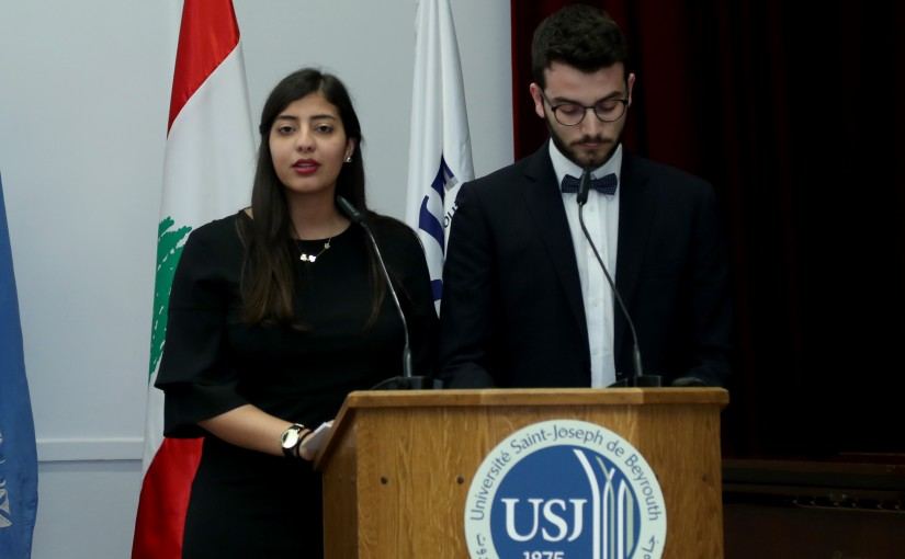 The First Lady Ms. Nadia Aoun attends  Les Campus Sans Tabac ( USJ).