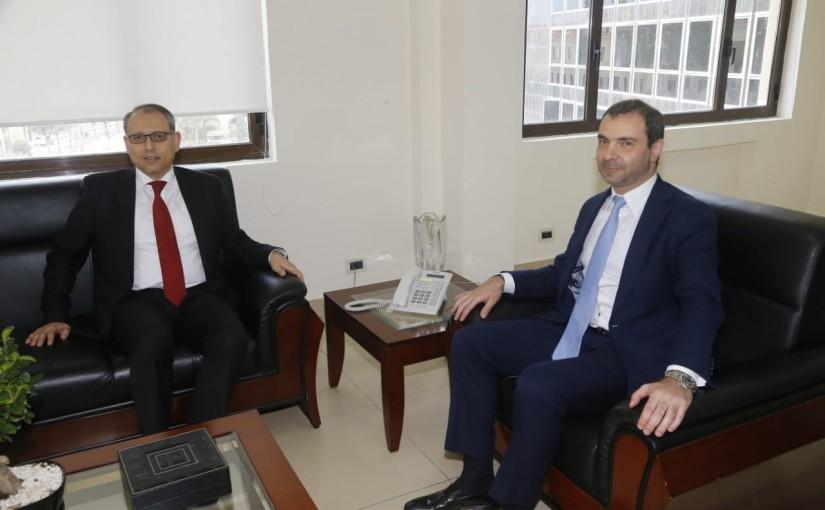 Minister Adel Afyouni meets Egyptian Ambassador