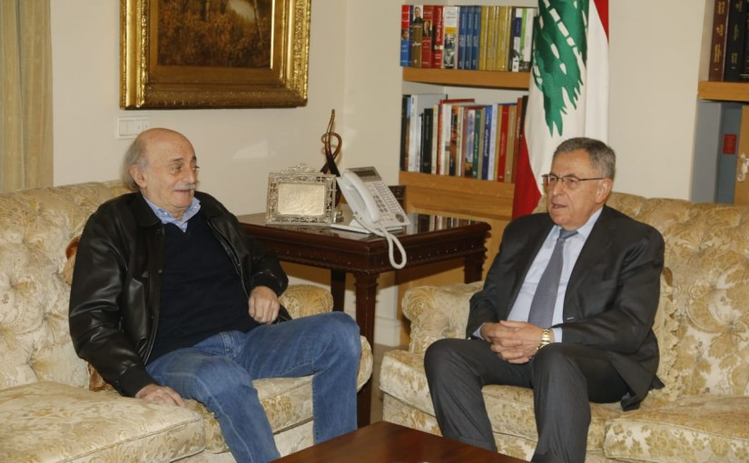 Former Pr Minister Fouad Siniora meets MP Walid Jounblat