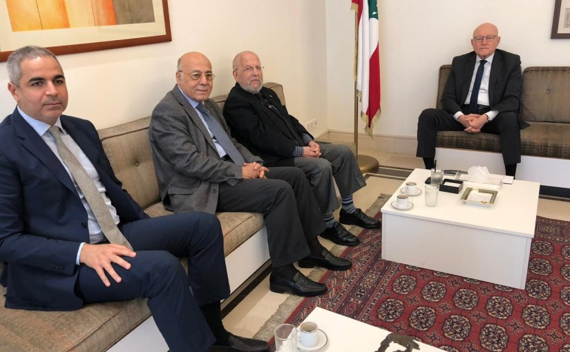 Former Pr Minister Tammam Salam meets a Delegation from Beirut Mayors
