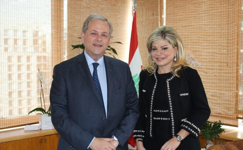 Minister May Chidiac Meets Former Minister Nabil De Freij