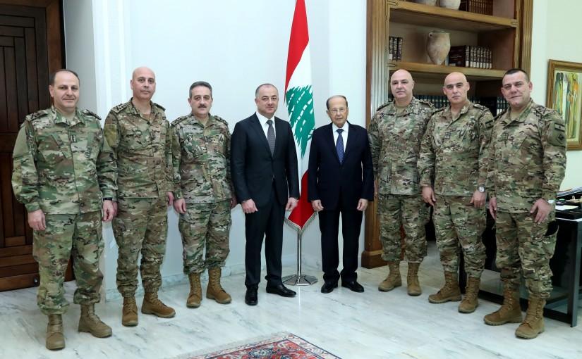 President Michel Aoun meets Minister of National Defense Elias Bou Saab and General Joseph Aoun.