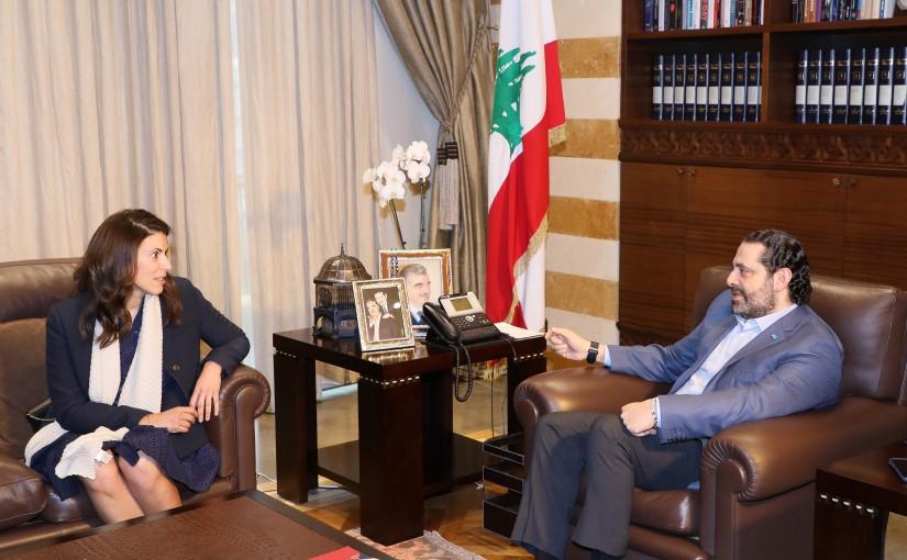 Pr Minister Saad Hariri meets Mrs Halla Fadell