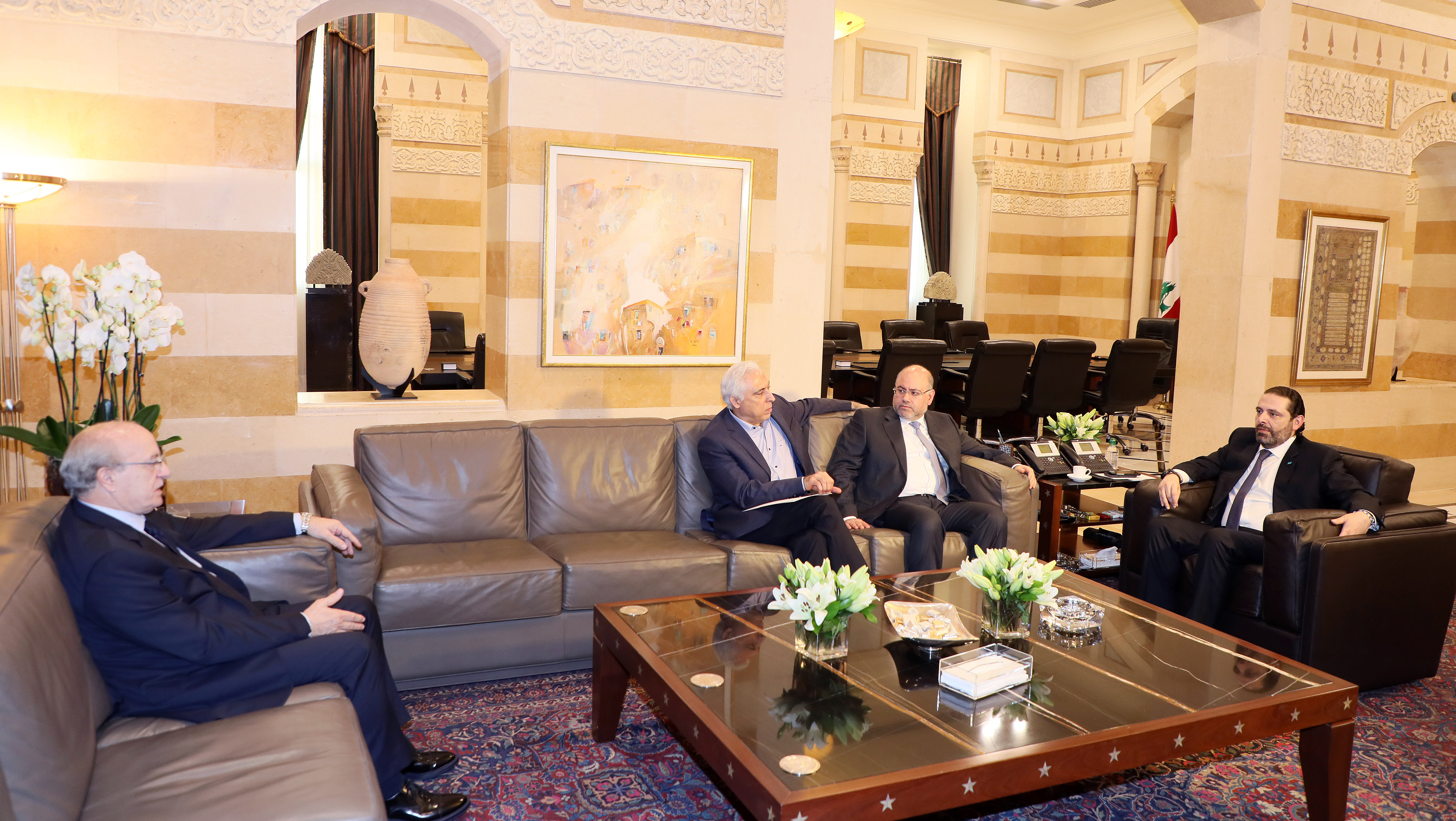 Pr Minister Saad Hariri meets Former Minister Ghatas Khoury with a Delegation